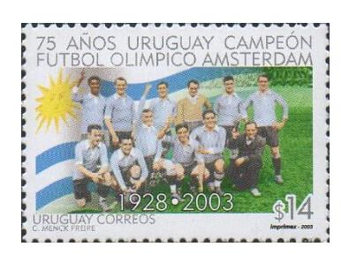 Уругвай. 75-летие завоевания сборной Уругвая по футболу золотых медалей на Играх IX Олимпиады в Амстердаме в 1928 году. Марка
