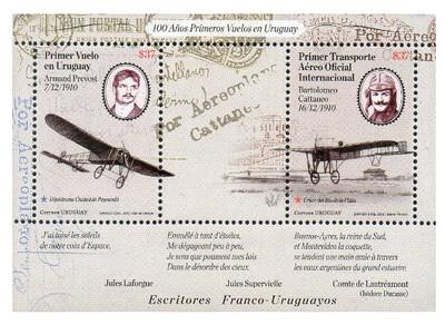 Уругвай. 100 лет первым авиаперелётам в Уругвае. Почтовый блок