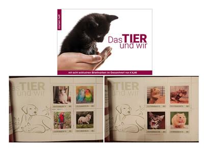 Австрия. Собственные марки. Фауна. Животные и мы. 35-ти страничный буклет с 2 блоками по 4 марки. Выпуск по заказу почты