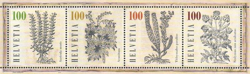 Швейцария. Лекарственные растения. Почтовый блок из 4 марок