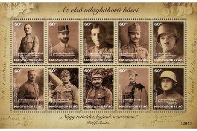 Венгрия. Герои Первой мировой войны. Почтовый блок из 10 марок