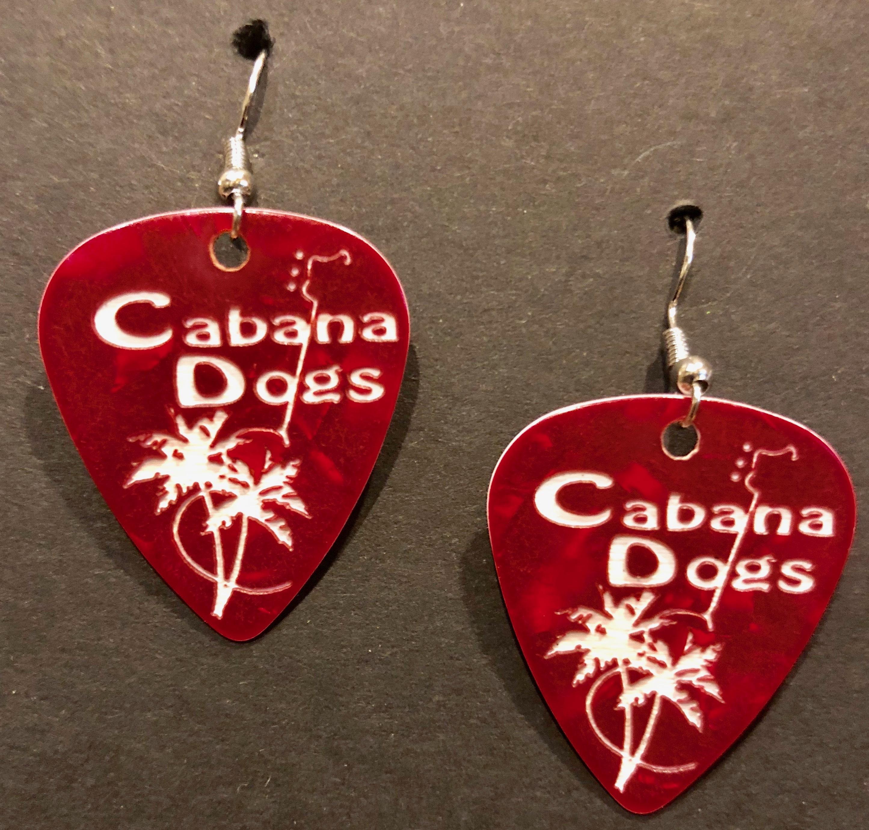 Cabana Dogs Guitar Pic Earrings 4 colors GPERRD