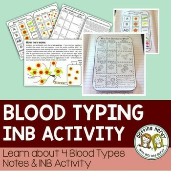 Science Interactive Notebook - Blood Typing Notes and Activity