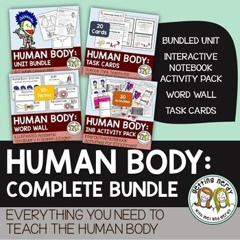 Human Body Systems Complete Bundle - PowerPoint Unit, INB, Task Card, Word Wall