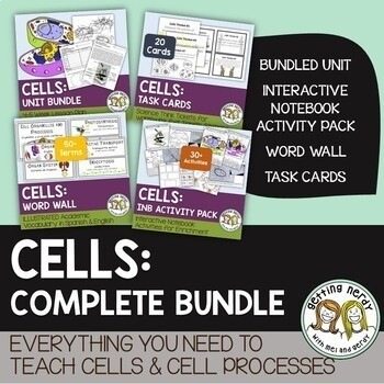 Cells Complete Bundle - PowerPoint Unit, INB, Task Cards, Word Wall