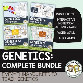 Genetics & Heredity Complete Bundle - PowerPoint Unit, INB, Task Card, Word Wall