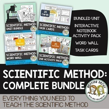 Scientific Method Complete Bundle - PowerPoint Unit, INB, Task Cards, Word Wall