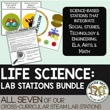Life Science Centers / Lab Stations Bundle - Cross-curricular STEAM Activities