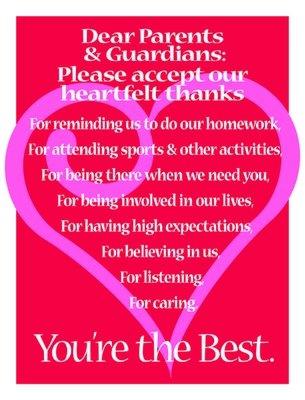 Thanks to Parents & Guardians
