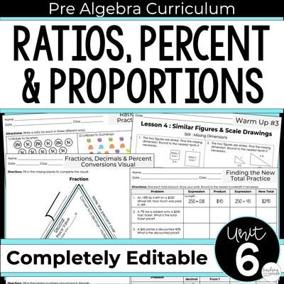 Ratios, Proportions and Percents Unit for Pre-Algebra