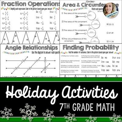 7th Grade Holiday Math Activities