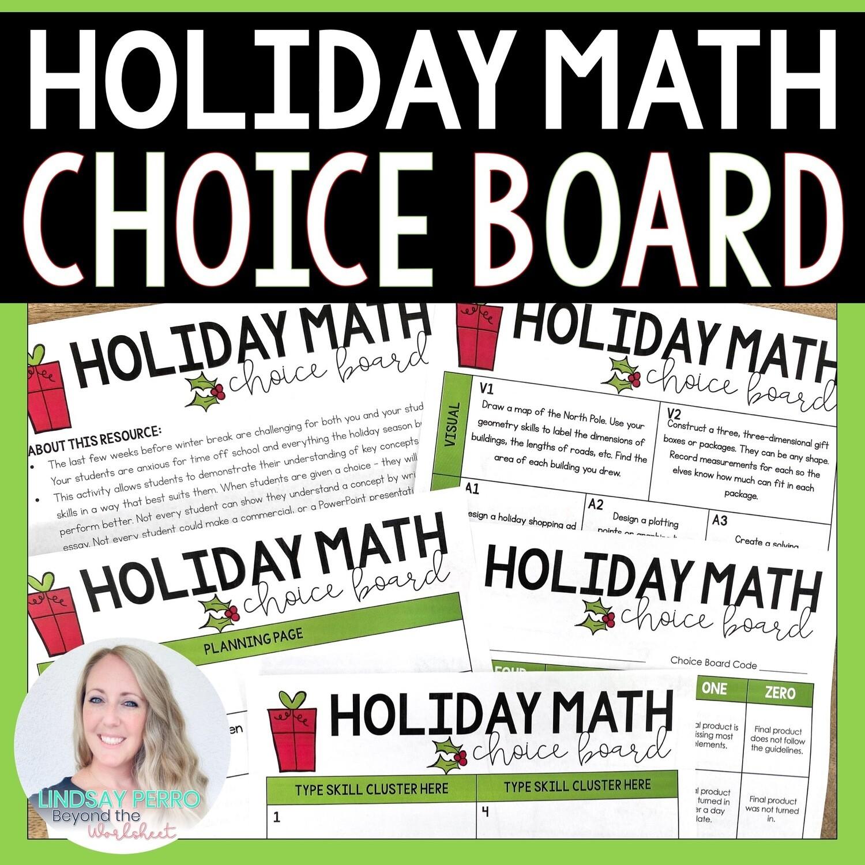 Holiday Math Choice Board