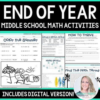 End of Year Activities for Middle School Math