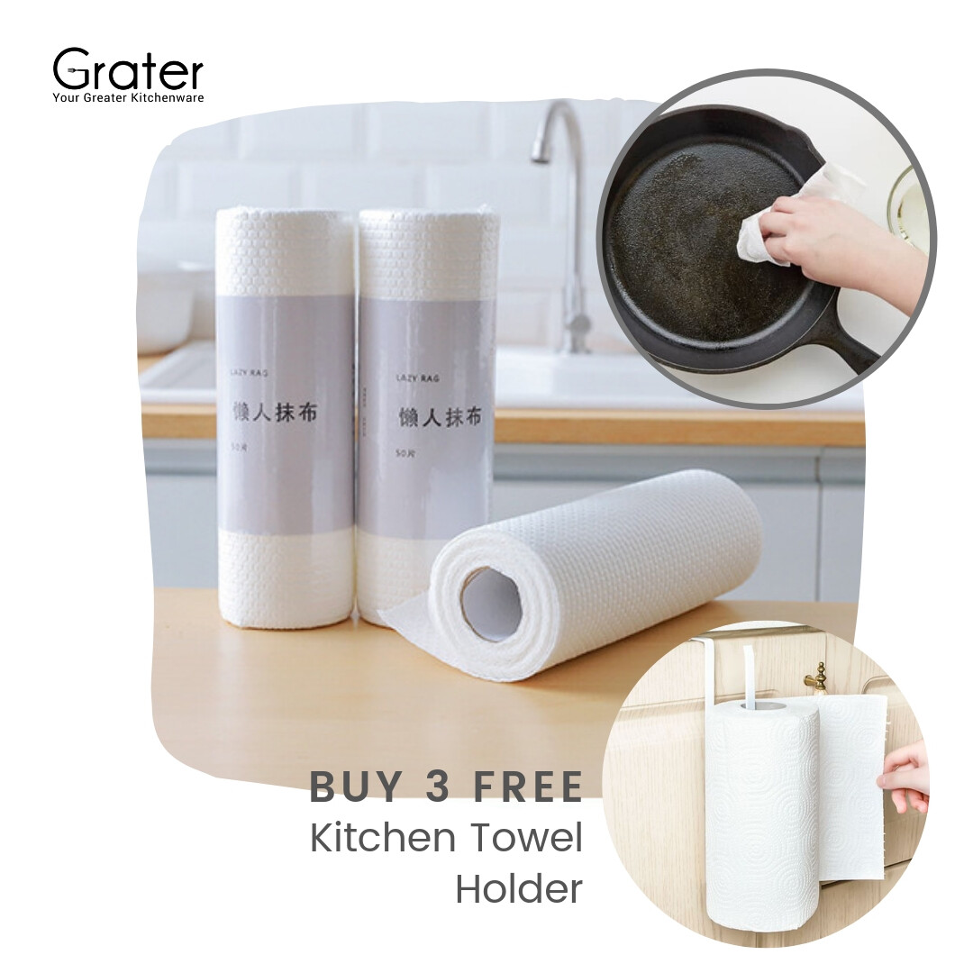 Reusable & Disposable Non-Woven Kitchen Towel Roll Lint Free Lazy Rag Cast Iron Seasoning Dish Cloth