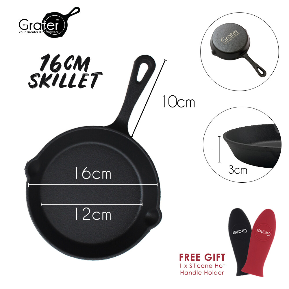 16cm / 6.25in Pre-Seasoned Cast Iron Skillet Round Pan