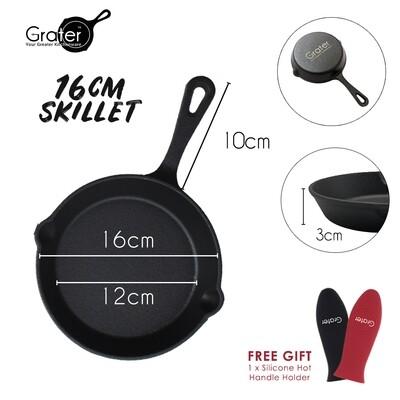 16cm / 6.25in Pre-Seasoned Cast Iron Skillet Round Pan