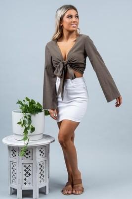 Wanda Denim Mini Skirt - White