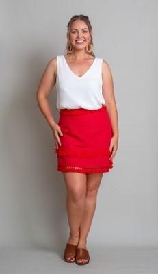 Byron Fringe Skirt - Red
