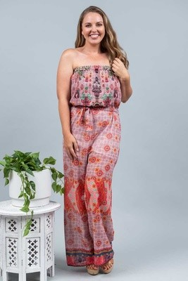 Resort Living Tube Jumpsuit - Red Mural