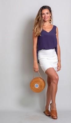 Vivian Fray Skirt - White