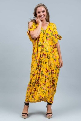 Nadi Nadi Long Kaftan - Mustard Bloom
