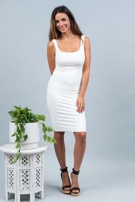 Love U Basics Scoop Neck Dress - Ivory