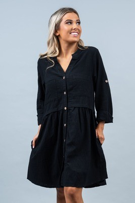 Zoe L/S Button Shift Dress - Black