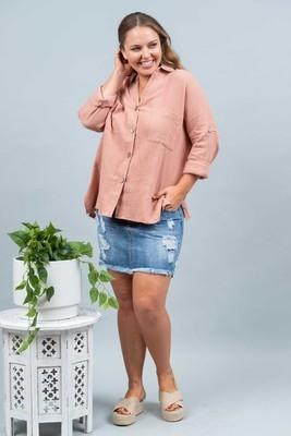 Absolutely Fabulous Cotton Shirt - Blush