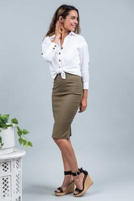 Love U Basics Pencil Skirt - Khaki