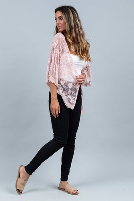 Summer Loving Short Lace Cape - Blush