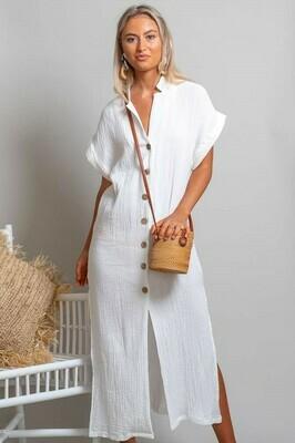 Absolutely Fabulous Cotton Midi Dress - White