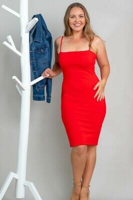 Love U Basics Spaghetti Strap Midi Dress - Red
