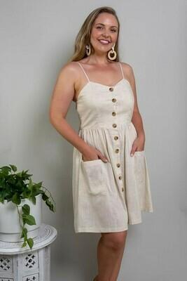 Shelly Beach Button Miniish Dress - Natural Linen Blend Thin Strap