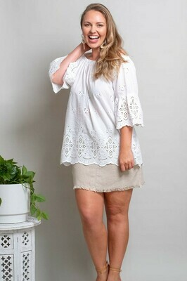 Free Spirit Embroidered Top - White
