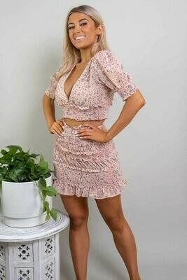 Ruffles Shirred Mini Skirt - Blush Fleur