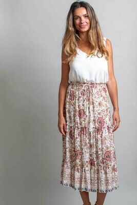 Brooke Ruffle Midi Skirt - Ivory Fleur