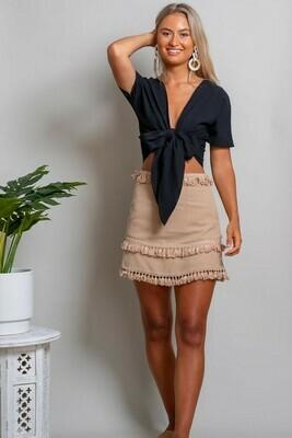 Byron Fringe Skirt - Beige