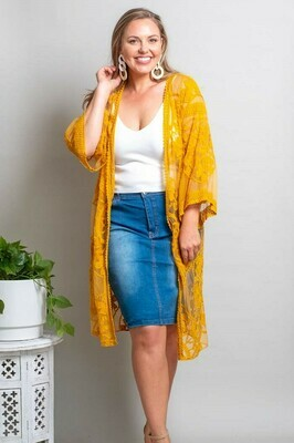 Summer Dreaming Lace Cape - Mustard