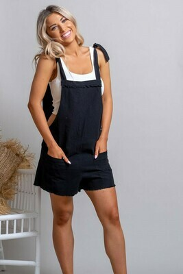 Byron Fray Playsuit - Black