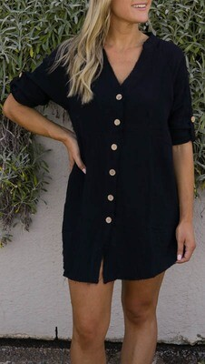 Absolutely Fabulous Fray Shirt/Dress - Black