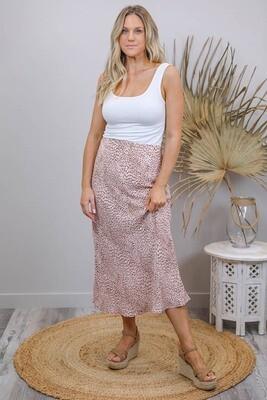 LaLa Luxury Midi Skirt - Blush/Micro Leo