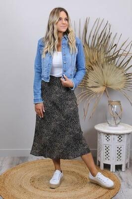 LaLa Luxury Midi Skirt - Black/Micro Leo