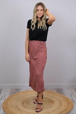 LaLa Luxury Midi Skirt - Terracotta/Micro Leo