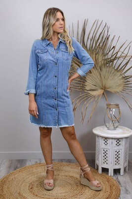 Favourite Long Fray Denim Jacket/Dress - Mid Denim