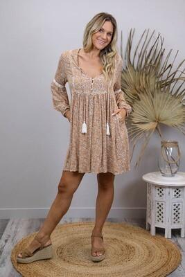 Cheska L/S BoHo Tassel Miniish Dress - Caramel/Black Spot
