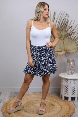 Indiana Frill Mini Skirt - Navy/White Splodge