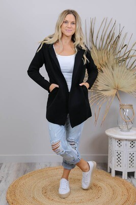 So Cozy Mid Length Coat - Black