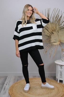 Chenille Oversize S/S Knit Jumper - White/Black