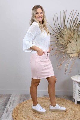 Cronulla Denim Knee Skirt - Blush
