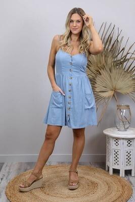 Shelly Beach Button Miniish Dress - Cornflower Blue Linen Blend Thin Strap